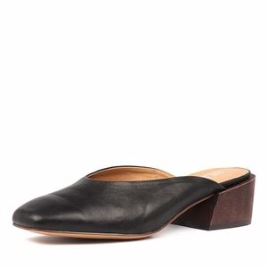 Silent D Ragna Black Leather Mules